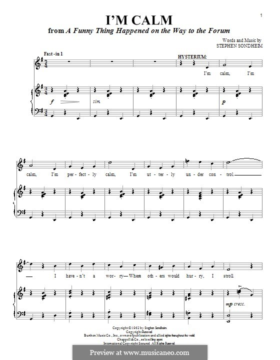 I'm Calm: For voice and piano (or guitar) by Stephen Sondheim