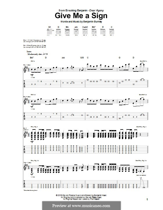 Give Me a Sign (Breaking Benjamin): For guitar with tab by Benjamin Burnley