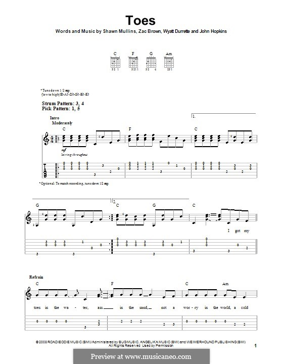 Toes (Zac Brown Band): For guitar (very easy version) by John Driskell Hopkins, Shawn Mullins, Wyatt Durrette, Zac Brown