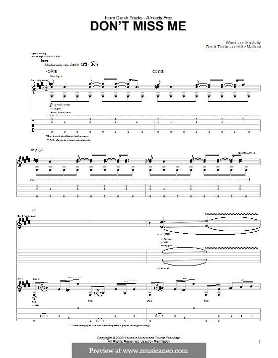 Don't Miss Me (The Derek Trucks Band): For guitar with tab by Derek Trucks, Mike Mattison