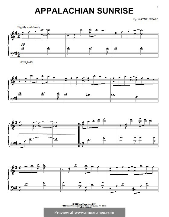 Appalachian Sunrise: For piano by Wayne Gratz