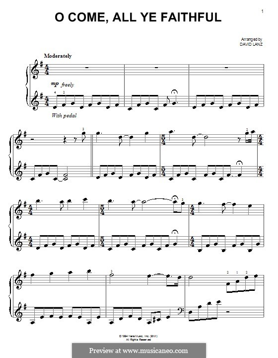 O Come All Ye Faithful, for Piano: Version for easy piano by John Francis Wade
