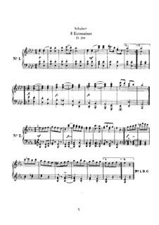 Eight Ecossaises for Piano, D.299: For a single performer by Franz Schubert