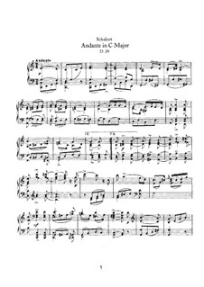 Andante for Piano in C Major, D.29: For a single performer by Franz Schubert