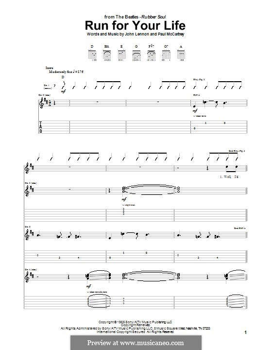 Run for Your Life (The Beatles): For guitar with tab by John Lennon, Paul McCartney