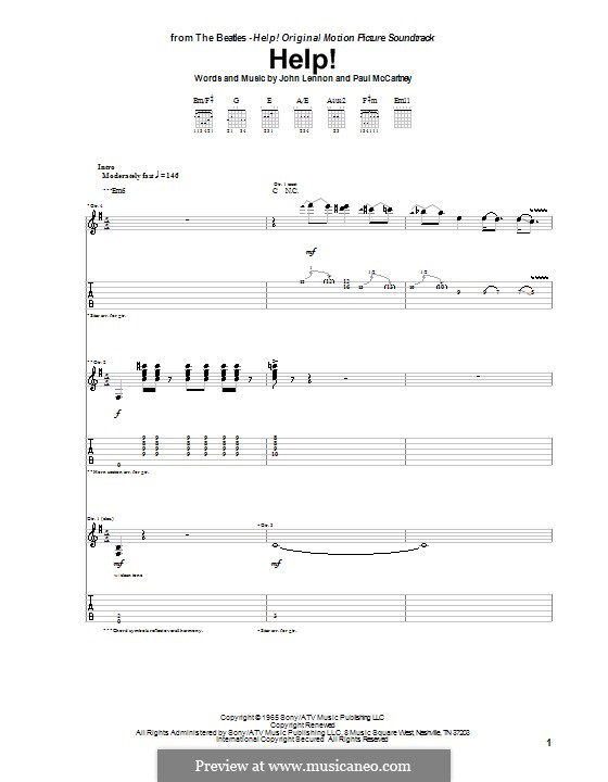 Help! (The Beatles): For guitar with tabulature (high quality sheet music) by John Lennon, Paul McCartney