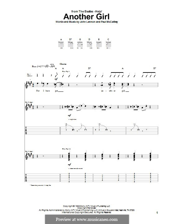 Another Girl (The Beatles): For guitar with tab by John Lennon, Paul McCartney