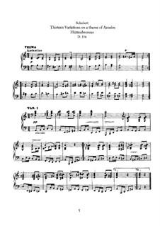 Thirteen Variations on a Theme of A. Hüttenbrenner, D.576: For piano by Franz Schubert