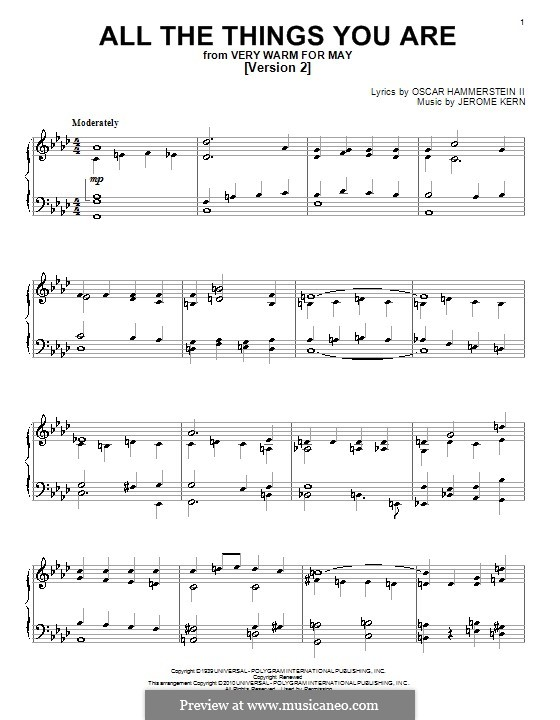 All the Things You are, for Piano: Version II by Jerome Kern