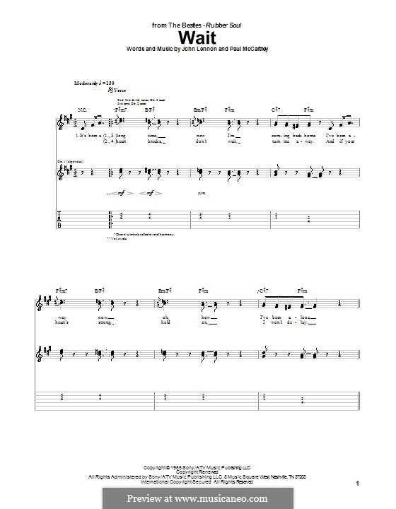 Wait (The Beatles): For guitar with tab by John Lennon, Paul McCartney