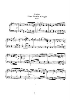 Piece for Piano in A Major, D.604: For a single performer by Franz Schubert