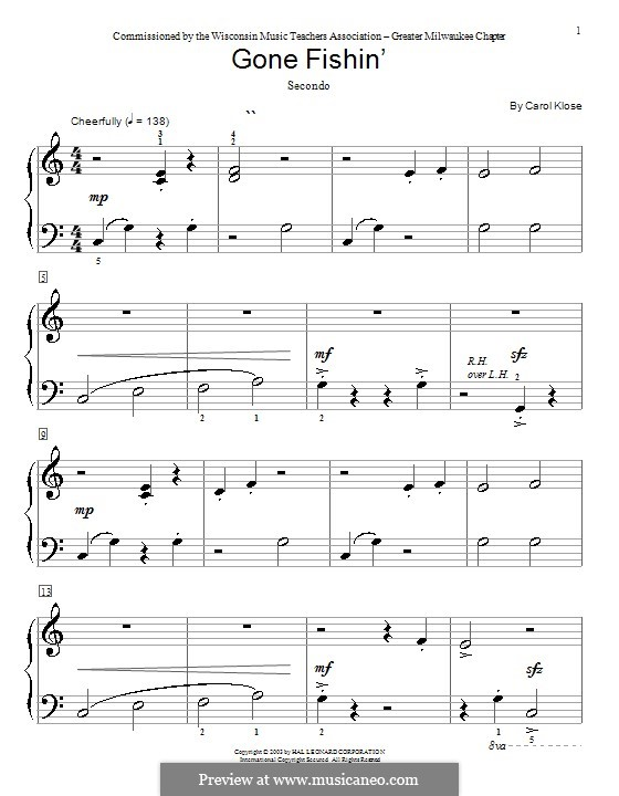 Gone Fishin': For piano four hands by Carol Klose