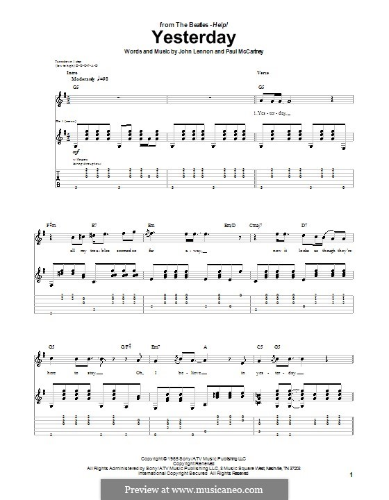 Yesterday (The Beatles): For guitar with tabulature by John Lennon, Paul McCartney