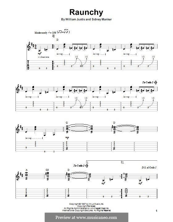 Raunchy: For guitar with tab by Sidney Manker, William Justis