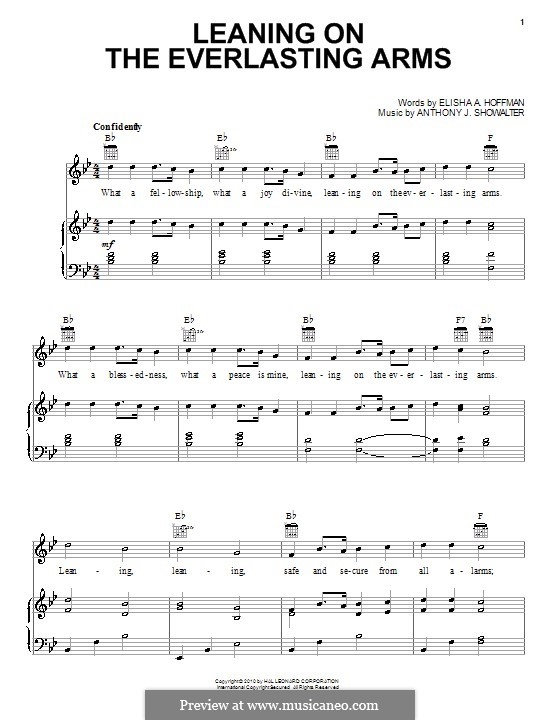 Leaning on the Everlasting Arms: For voice and piano (or guitar) by Anthony J. Showalter