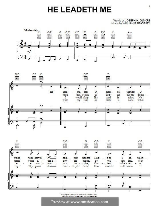 He Leadeth Me: For voice and piano (or guitar) by William Batchelder Bradbury