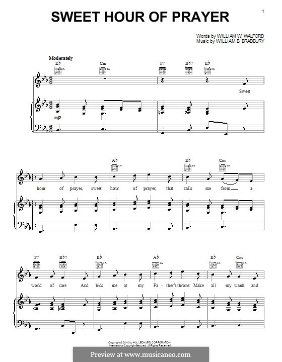 Sweet Hour of Prayer: For voice and piano (or guitar) by William Batchelder Bradbury