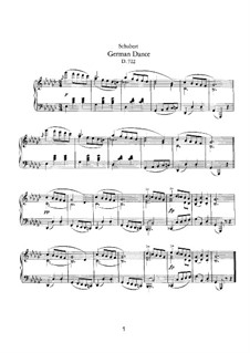 German Dance for Piano, D.722: For a single performer by Franz Schubert