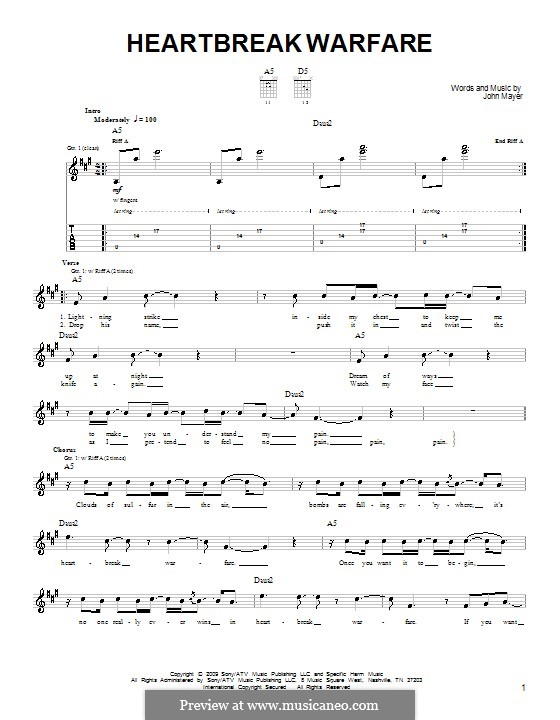 Heartbreak Warfare: For guitar (very easy version) by John Mayer
