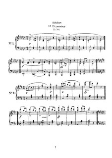 Eleven Ecossaises for Piano, D.781: For a single performer by Franz Schubert