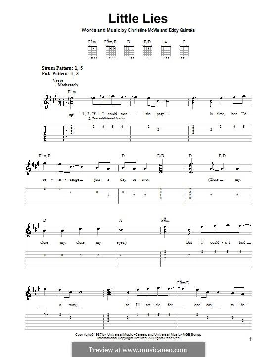 Little Lies (Fleetwood Mac): For guitar (very easy version) by Christine McVie, Eddy Quintela