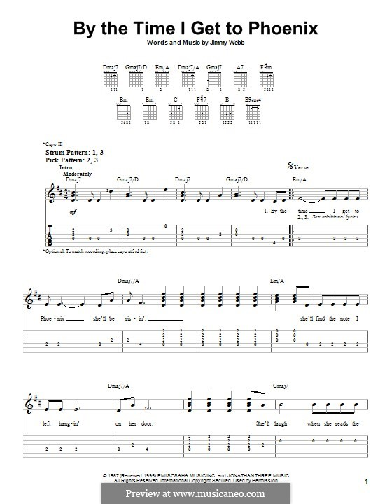 By the Time I Get to Phoenix: For easy guitar with tab by Jimmy Webb