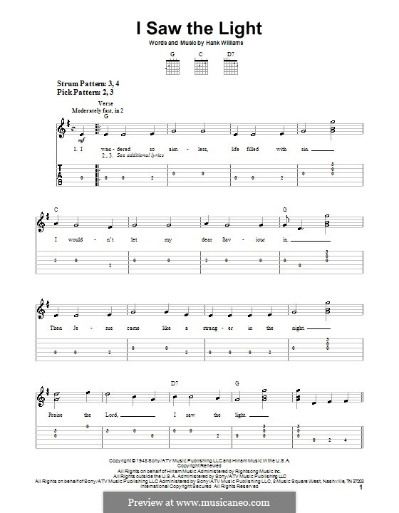 I Saw the Light: For guitar (very easy version) by Hank Williams