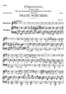 Pilgerweise (Pilgrim's Song), D.789: For voice and piano by Franz Schubert