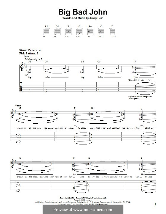 Big Bad John: For easy guitar with tab by James A. Dean