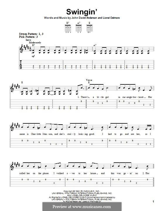 Swingin': For guitar (very easy version) by John David Anderson, Lionel Delmore