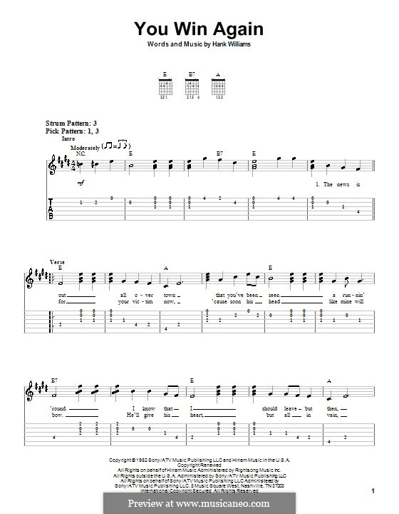 You Win Again: For guitar (very easy version) by Hank Williams