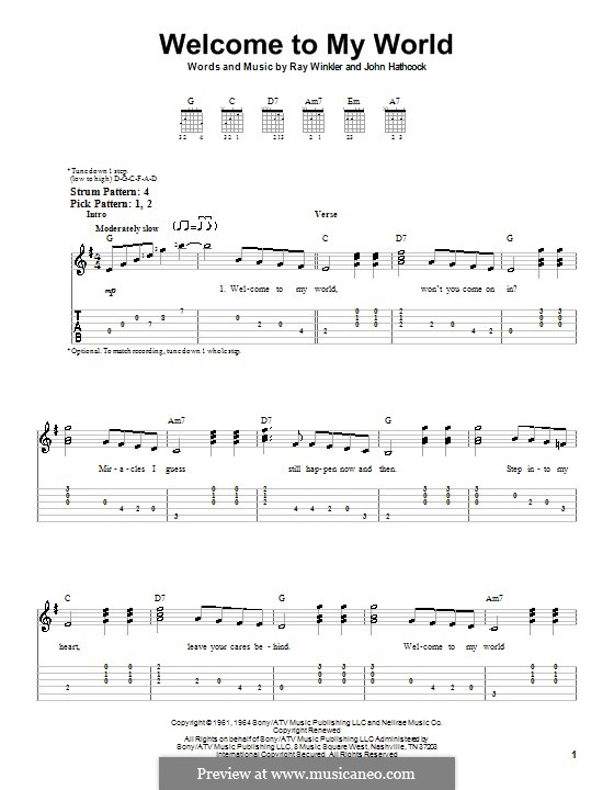 Welcome To My World (Jim Reeves): For guitar (very easy version) by Johnny Hathcock, Ray Winkler