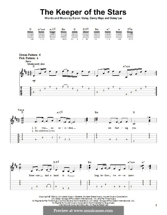 The Keeper of the Stars (Tracy Byrd): For guitar (very easy version) by Danny Mayo, Dickey Lee, Karen Staley