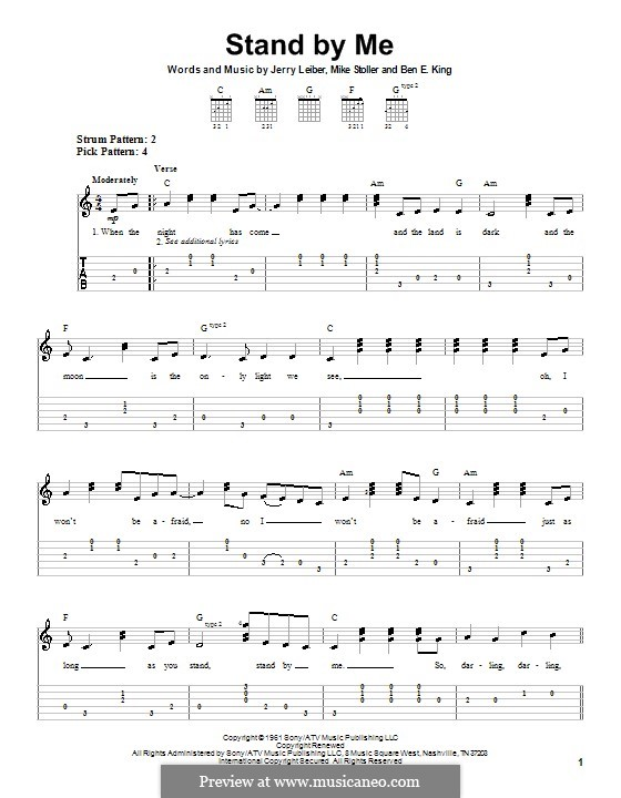 Stand By Me: For easy guitar (Mickey Gilley) by Ben E. King, Jerry Leiber, Mike Stoller