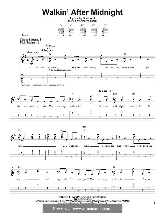 Walkin' After Midnight (Patsy Cline): For guitar (very easy version) by Alan W. Block