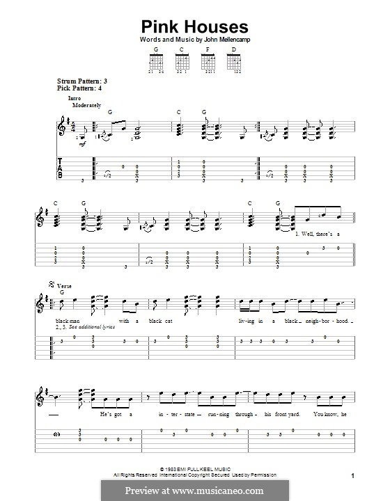 Pink Houses By J Mellencamp Sheet Music On Musicaneo