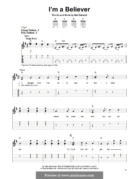 I'm a Believer: For guitar by Neil Diamond
