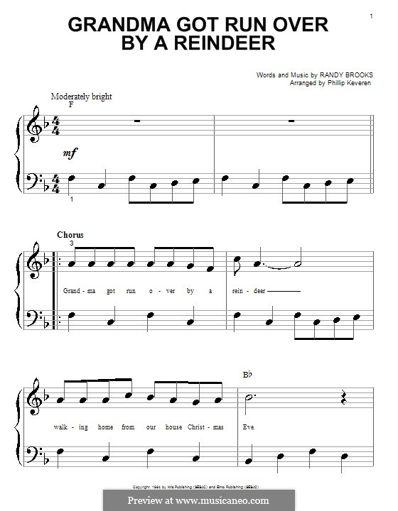 Grandma Got Run Over By a Reindeer: For piano (very easy version) by Randy Brooks