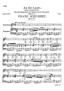 An die Laute (To the Lute), D.905 Op.81 No.2: For voice and piano by Franz Schubert