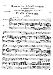 Romance of Richard the Lionheart, D.907 Op.86: For voice and piano by Franz Schubert