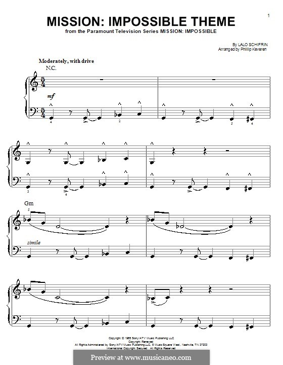 Mission: Impossible Theme: For easy piano by Lalo Schifrin