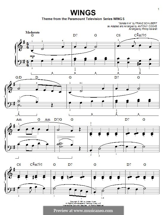 Wings: For easy piano by Antony Cooke
