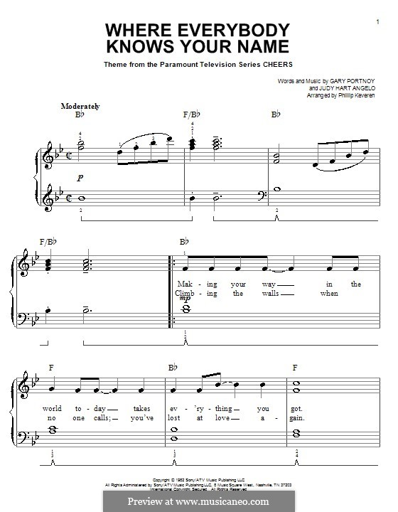 Where Everybody Knows Your Name (theme from Cheers): For easy piano by Gary Portnoy, Judy Hart Angelo