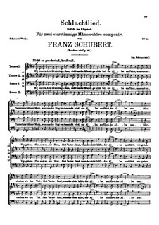 Battle Song for Double Male Choir and Piano (or Harmonium), D.912 Op.151: Vocal score by Franz Schubert