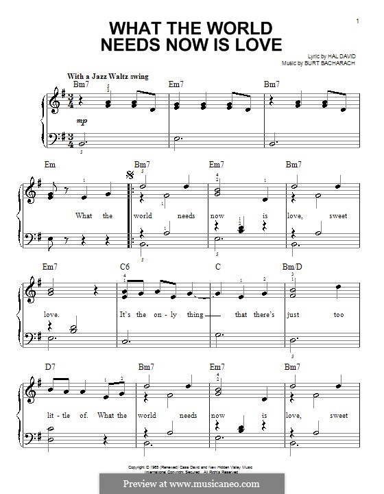 What the World Needs Now Is Love: For easy piano by Burt Bacharach