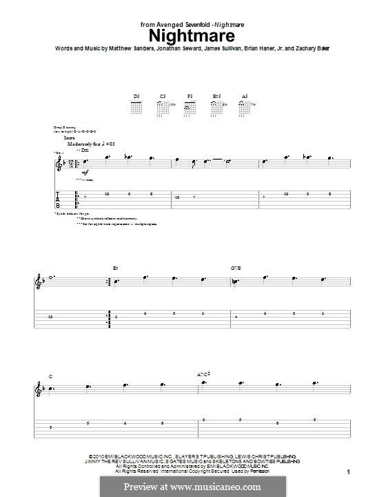 Nightmare (Avenged Sevenfold): For guitar with tab by Brian Haner Jr., James Sullivan, Jonathan Seward, Matthew Sanders, Zachary Baker