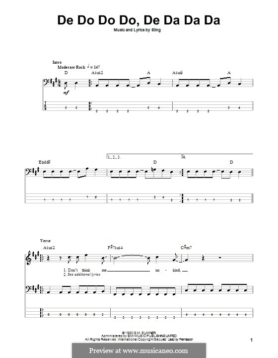 De Do Do Do, De Da Da Da (The Police): For bass guitar with tab by Sting