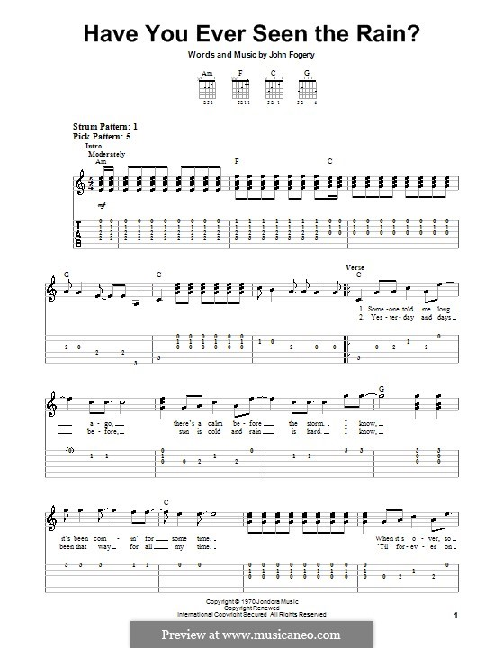 Have You Ever Seen the Rain? (Creedence Clearwater Revival): For guitar (very easy version) by John C. Fogerty