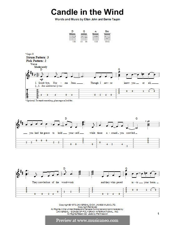 Candle in the Wind: For guitar (very easy version) by Elton John