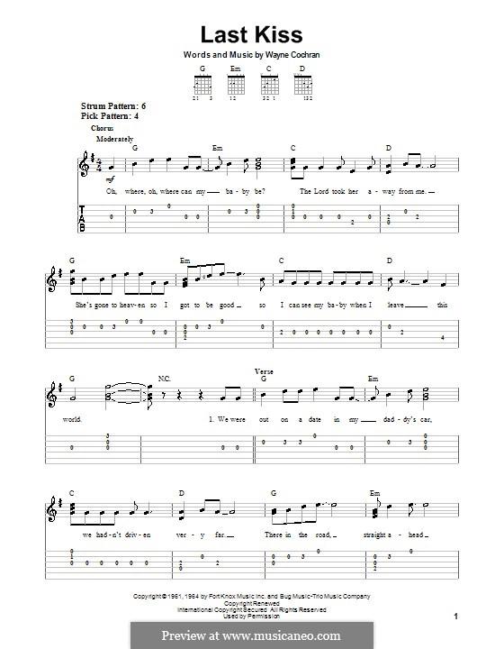 Last Kiss (J. Frank Wilson): For guitar (very easy version) by Wayne Cochran